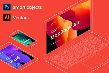 iPhone, iPad and Macbook Mockups