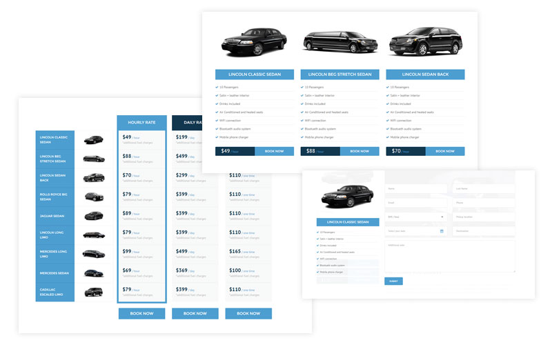 Limo Rent - Limousine, car rental WordPress theme - custom features