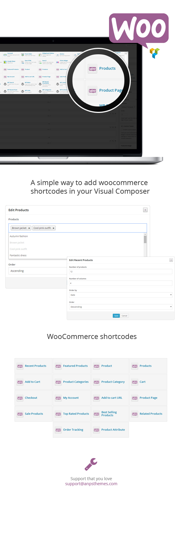 Woocommerce shortcodes for Visual Composer 4
